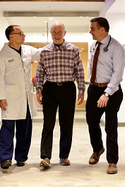 John Bonora with cardiologist Ted Portnay and cardiac surgeon Michael Coady, Stamford Health Heart & Vascular Institute