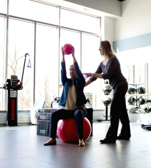 Photo of a patient and trainer at HSS Sports Rehab