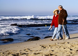 "Senior couple on beach. ""Leakage with Laughter: Treating Urinary Incontinence"" Blog"