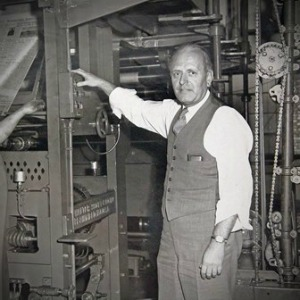 Kingsley Gillespie on press, circa 1952